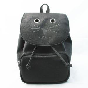 Novelty Cat Drawstring PU Rucksack pictures & photos