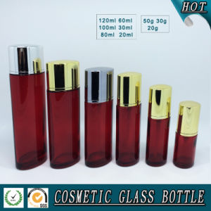 Red Coloured Glass Cosmetics Bottle and Cosmetic Glass Cream Jar pictures & photos