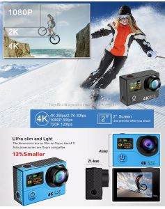 """Action Camera Ultra 4k HD 2.0"""" Dual Screen Action Camera Waterproof Cam pictures & photos"""