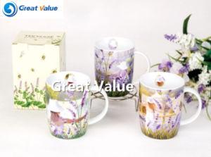Unique Lavender Decal Porcelain Tea to Go Cup pictures & photos
