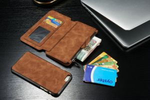 Real Leather Wallet Case with Detachable Slimcase 2 Kickstands Phone Case pictures & photos