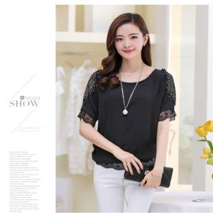 New Chiffon Blouse Lace Shirt Women Short-Sleeved Shirts pictures & photos