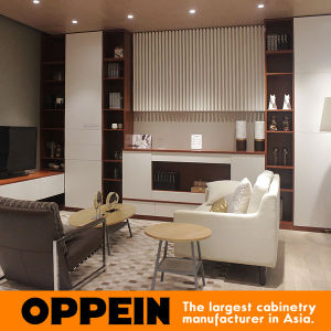 Modern White and Dark Wood Grain Melamine Decoration Wall Cabinet (ZS0451615) pictures & photos