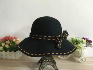 Leisure Black Cloche Bowler Felt Hat for Woman