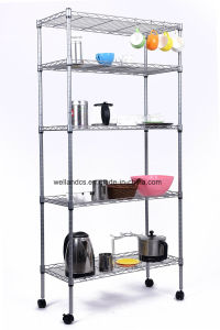 """No Tools Assembly DIY 5 Tiers Adjustable Chrome Steel Wire Shelving Storage Rack with 2"""" Nylon Casters pictures & photos"""