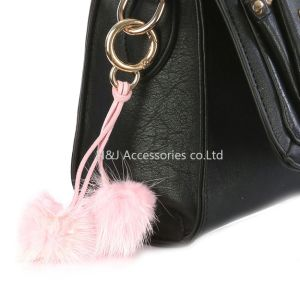 Wholesale Faux Fur POM POM Bag Accessory Pink Double Balls Keychain Jewelry Gift pictures & photos