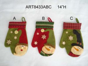 Christmas Decoration Santa Snowman Mitten, 3asst pictures & photos