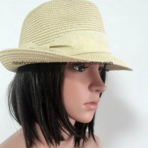 100% Straw Hat, Fashion Fedora Style with Band Decoration for Unisex pictures & photos