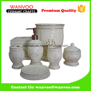 White Gold Line Porcelain Bathroom Set with Electroplating Pump pictures & photos