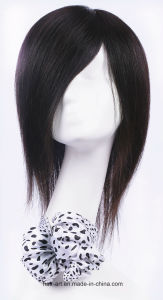 Silky Straight Mongolian Virgin Hair Medium Length Silk Top Wig pictures & photos
