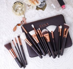 15-Piece Makeup Brush Set with Soft Leather Case Bag pictures & photos