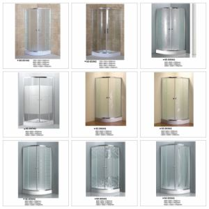 Double Door Quadrant Sliding Door Fabric Glass Shower Enclosure pictures & photos