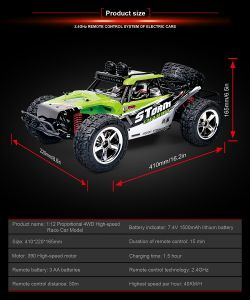 Cross-Country Car Toy, 1: 12 Scale, 2.4 GHz All-Wheel-Drive Model Bring Electricity at a High Speed High-Speed Four-Wheel Drive Model Car pictures & photos