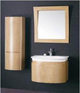 Wall Mounted Modern Plywood Bathroom Cabinet Cover with Wooden Veneer  (BL-129022)
