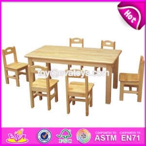 High Quality School Furniture Natural Wood Kindergarten Table and Chairs for Sale W08g209 pictures & photos