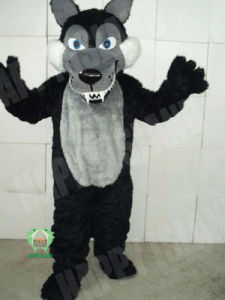 2011 Laniary Hairy Black Wolf 2 Animal Mascot (HI-MC-0362)