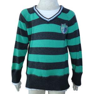 Boys Green and Black Stripe Sweater, Boy Cardigon Sweatshirt
