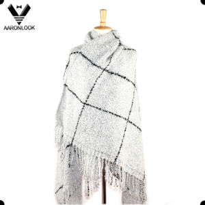 Winter Warm Loop Yarn Big Plaid Shawl Wrap with Fringes pictures & photos