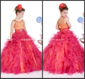 Custom Girls Pageant Dresses Prom Ball Gown Square Sweep Train Ruffle Beaded Crystal Sequins Organza Red Organza Pageant Dresses for Girls Nh94 pictures & photos