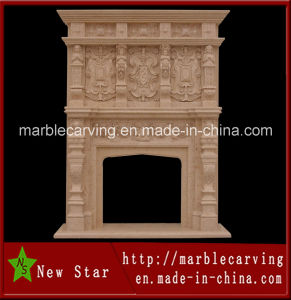 Yellow Marble Double Fireplace Mantel (NS-1207) pictures & photos
