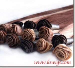 Top Hand Tied Hair Weft Brazilian Remy Human Hair pictures & photos