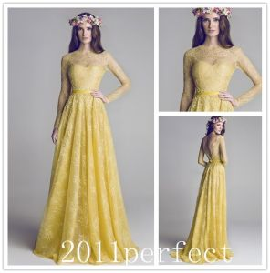Long Sleeves Yellow Lace Bodice Formal Evening Dress W148658 pictures & photos
