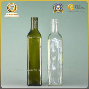 500ml Square Dark Green Glass Oil Bottle with Screw Cap (095) pictures & photos