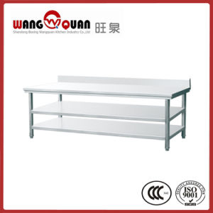Stainless Steel Work Bench 3 Tier with Splashback for Restaurant pictures & photos