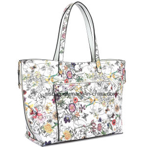 Floral Reversible Women Tote Bag Printing PU Satchel Shopping Bag pictures & photos