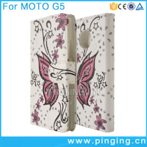 Printed Butterfly Wallet Leather Flip Case for Moto G5/G5 Plus pictures & photos