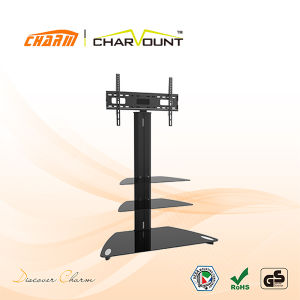 High Quality 3 Tier Tempered Glass LCD TV Base Stand Bracket Left &Right Rotatable (CT-FTVS-F204B) pictures & photos