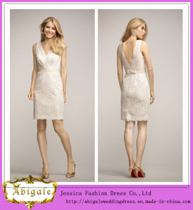Latest Designs Knee-Length V-Neck and V-Back Sleeveless Lace Junior Bridesmaid Dresses (WD150)