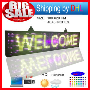 P10 RGB Outdoor Full Color LED Display Programmablefor LED Signs Size 39X8 Inch LED Scrolling Sign Message Board