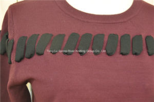 Rayon Polyester Lace-up Knit Ladies Sweater pictures & photos