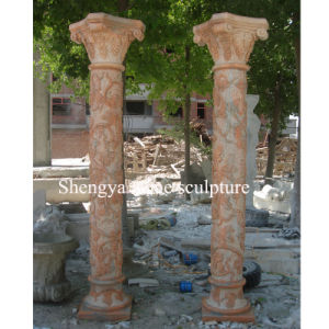 Sunset Red Stone Sculpture Marble Column (SY-C018) pictures & photos