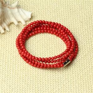Fashion Jewelry Round Red Coral Sponge Charm Bracelet (XG-BE138)