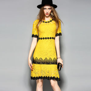 Yellow&Pink Printed Lace Casual Women Dress pictures & photos