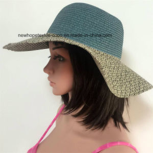 100% Paper Straw Hat, Fashion Contrast Col with Weaving / Mteal / String Style pictures & photos