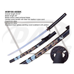 """40.55""""Overall Wood Handle Katana with Carbon Steel Polished Blade: 4km100-405bk pictures & photos"""