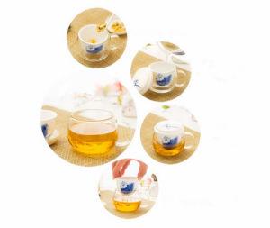 Beautiful Flower Design Glass Tea Cup pictures & photos