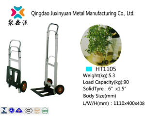 Foldable Aluminium Hand Truck/Handcart/Trolley with PU Caster (HT1105) pictures & photos