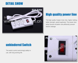 3 Outlet Brazil Standard Electric Power Extension Socket with Switch pictures & photos