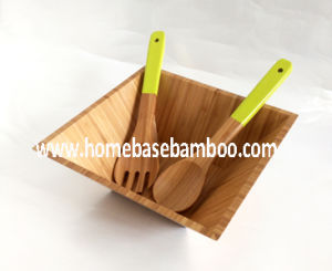 Square Bamboo Salad Bowl & Serving Set pictures & photos