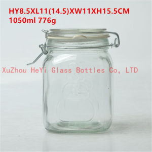 1L Food Glass Jar Seal Glass Container with Glass Lid pictures & photos