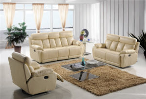 Beige Color Leather Manual Recliner Sofas pictures & photos