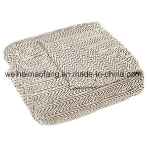 Woven Herringbone Pure Cotton Blanket pictures & photos