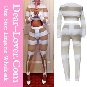 White Bold Mesh Cutout and Splice Pant Set pictures & photos