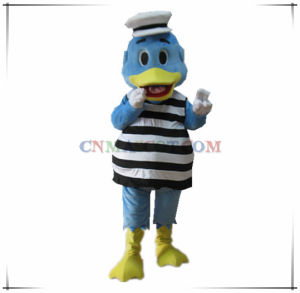 Handsome Duck Mascot in Navy Clothes