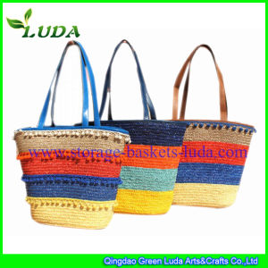 Fashionable Mixed Colors Wheat Straw Beach Bag