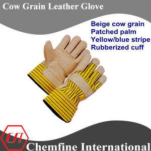 Beige Cow Grain Patched Palm, Yellow/Blue Stripe, Rubberized Cuff Leather Work Gloves pictures & photos
